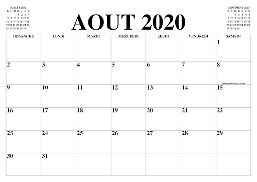 CALENDRIER AOUT 2020 PDF