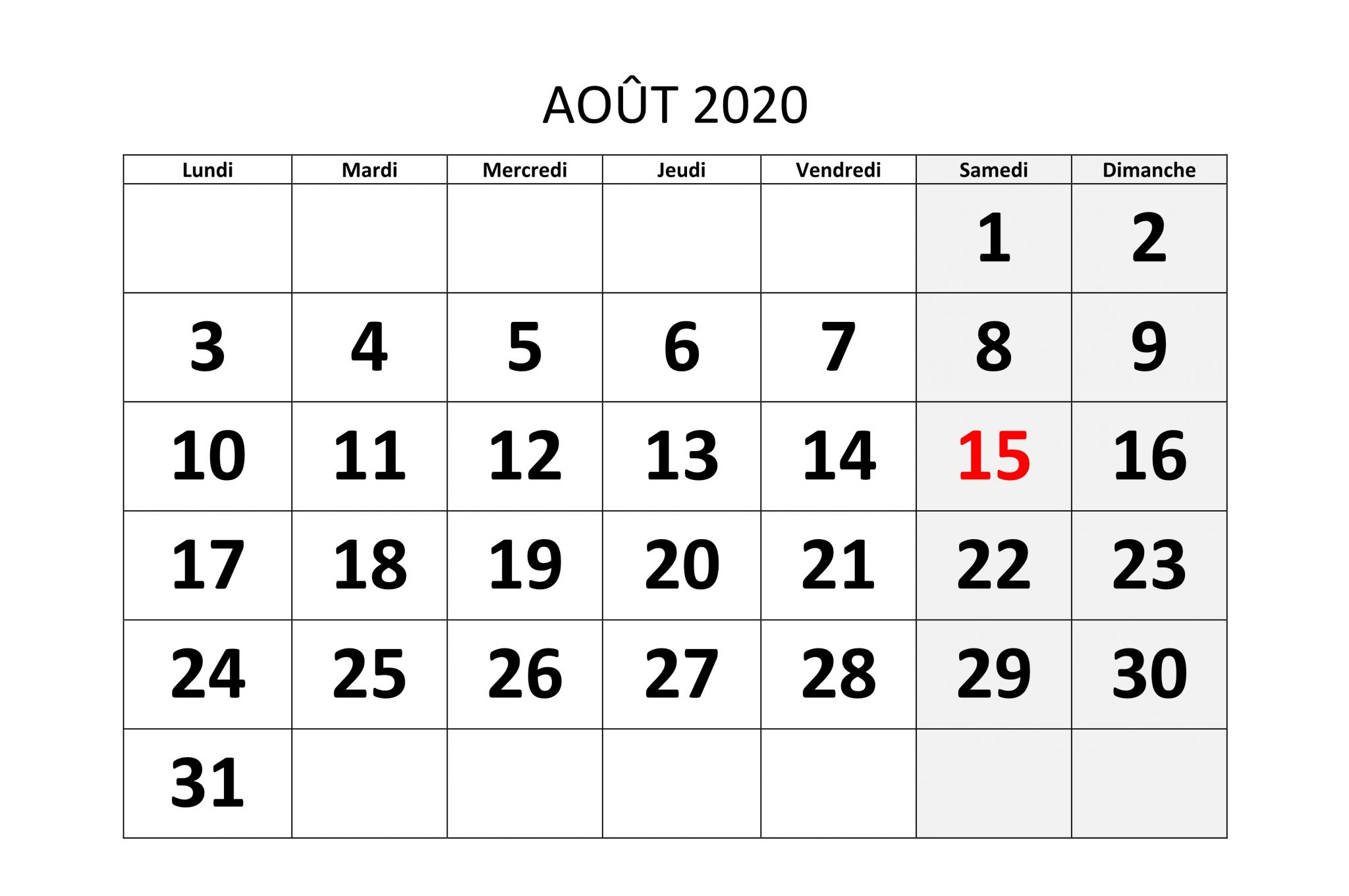 Calendrier Aout 2020 Imprimable