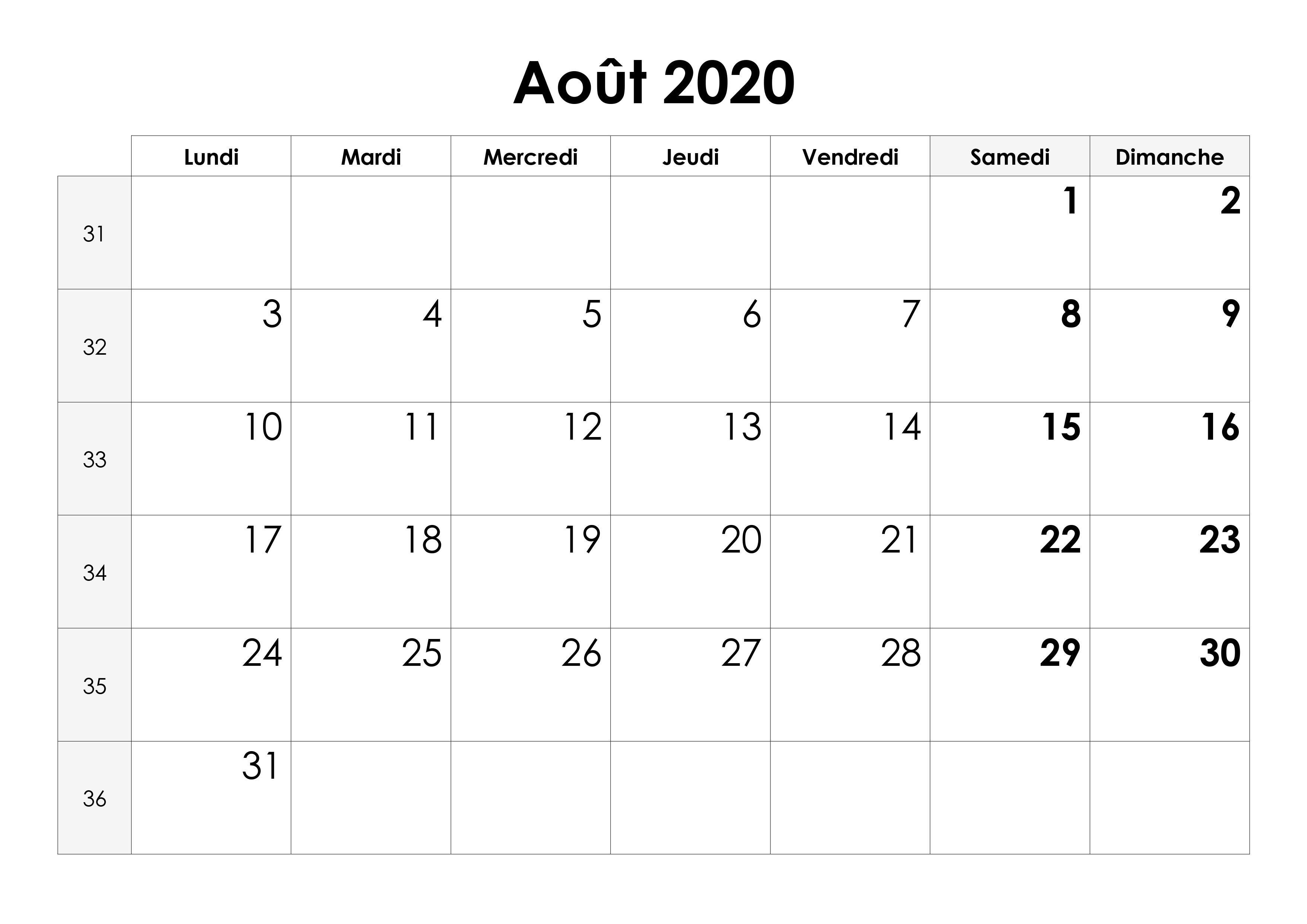 Calendrier Aout 2020 pdf Imprimable