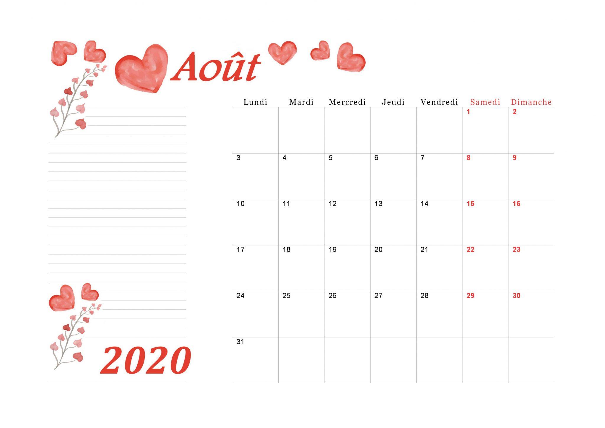 Calendrier août 2020 à imprimer scaled