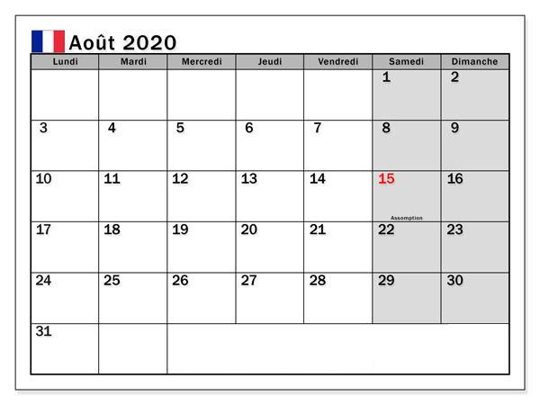 Calendrier août 2020 vacances à imprimer