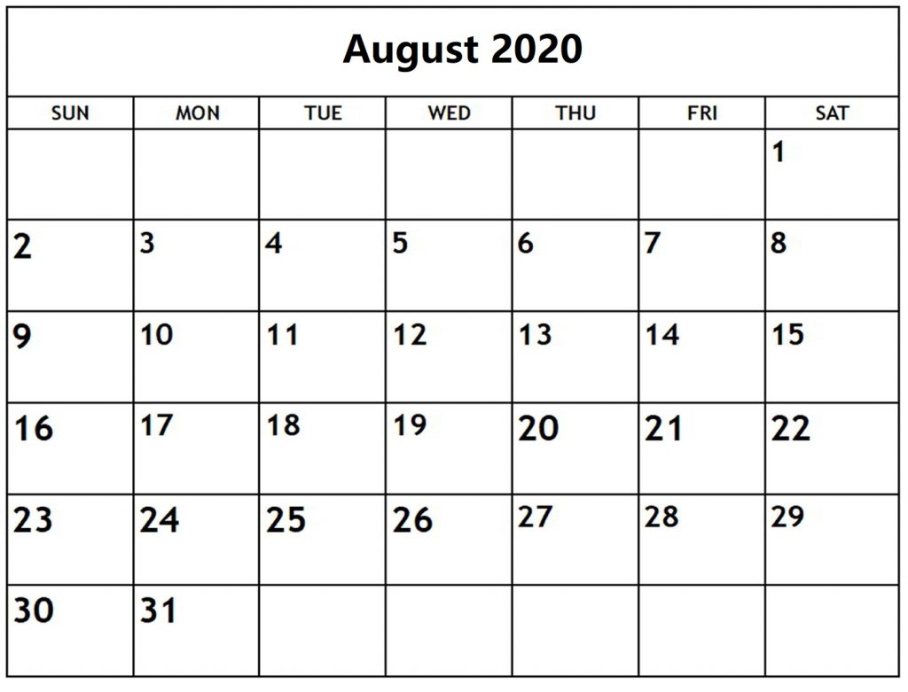 Free Printable Blank August Calendar 2020