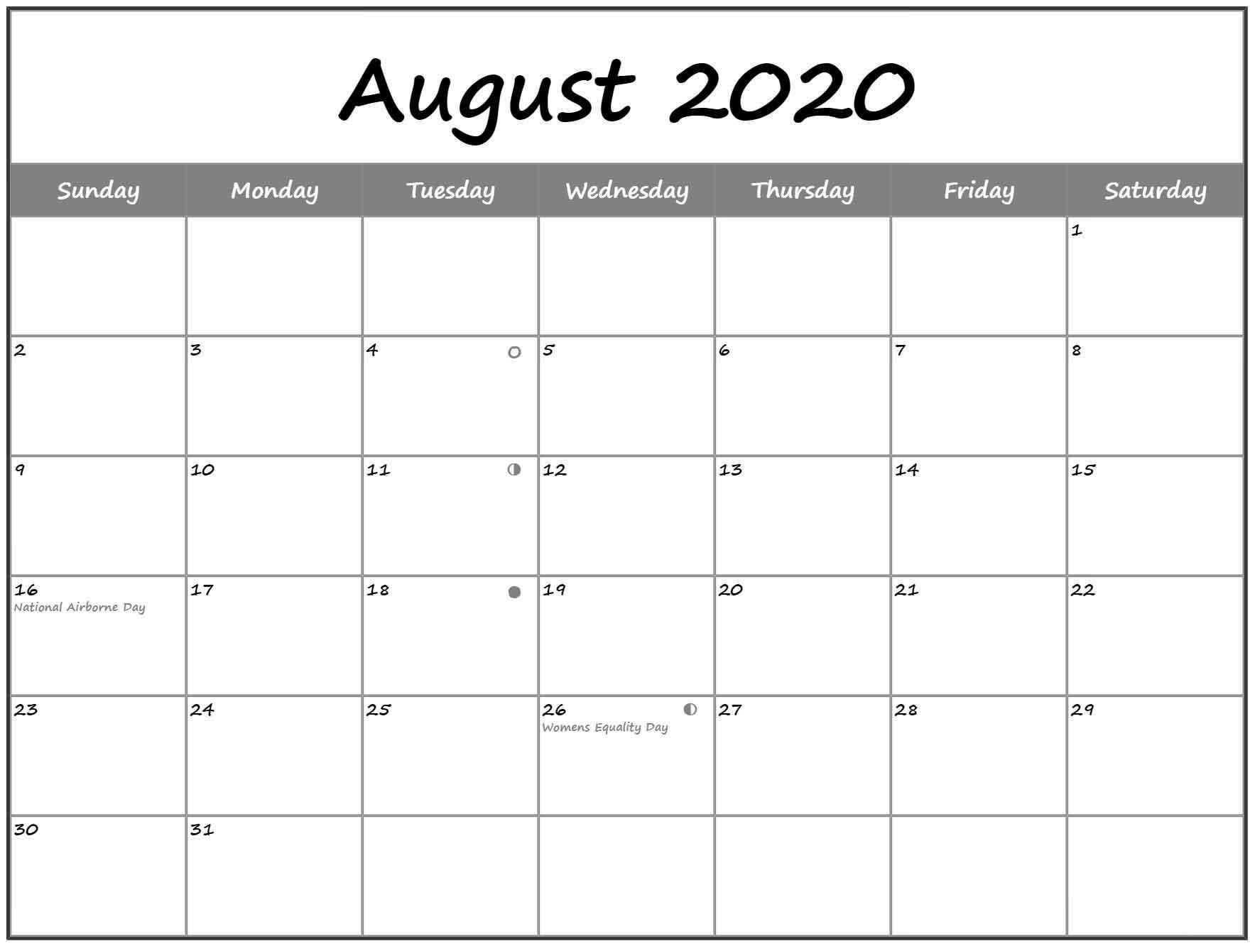 August 2020 Lunar Calendar