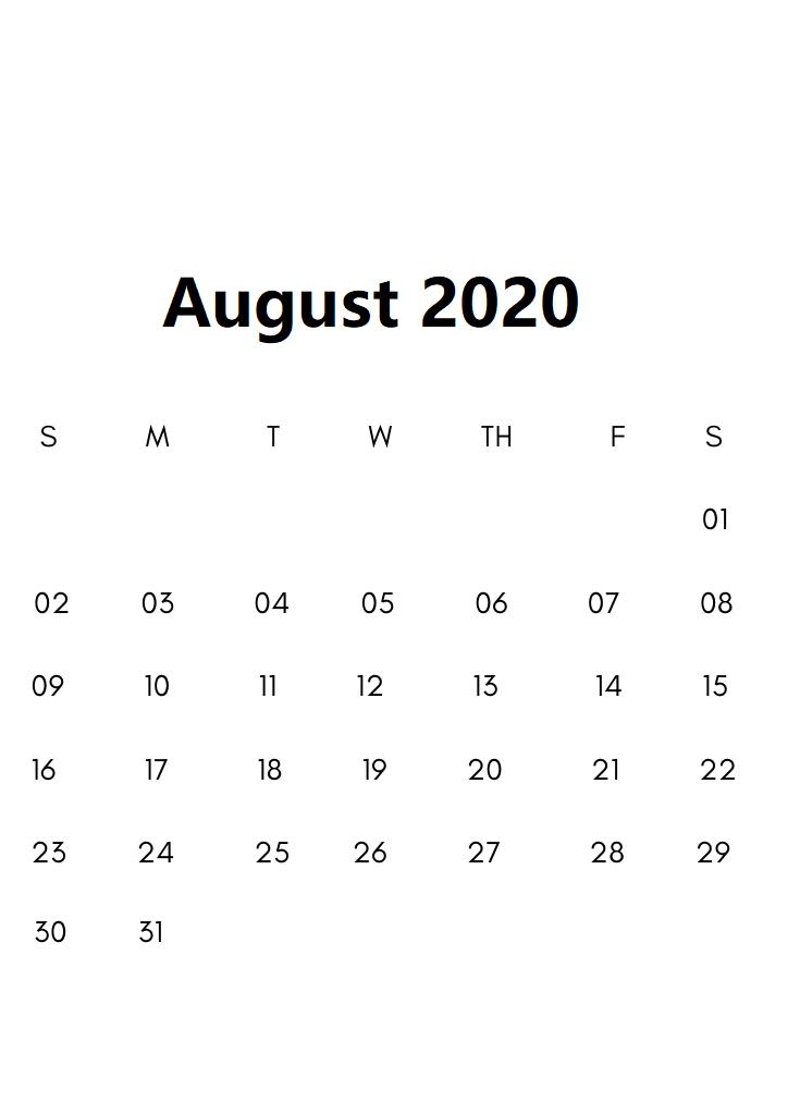 August 2020 Calendar Letter