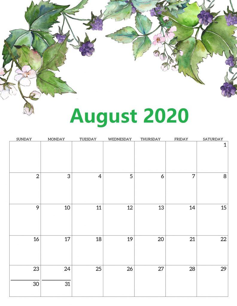 August 2020 Calendar Portrait