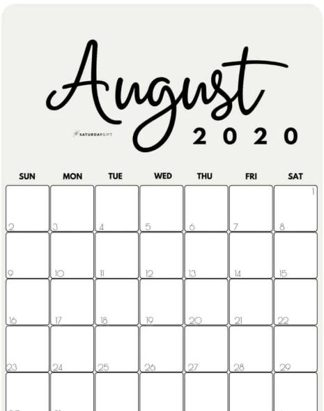 Print August 2020 Vertical Calendar