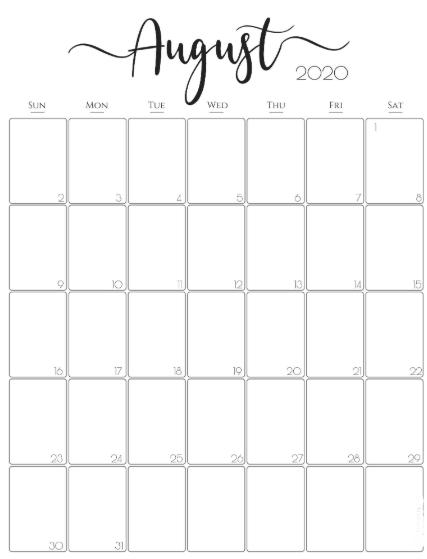 August 2020 Vertical Calendar
