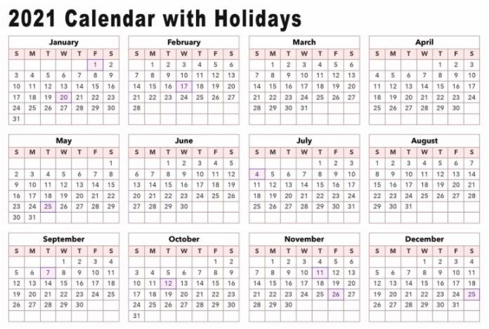 Calendar 2021 Printable Holidays
