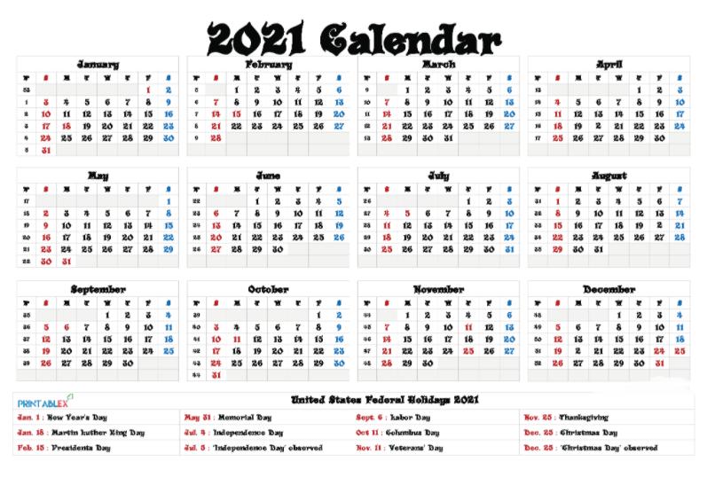 Printable 2021 Calendar