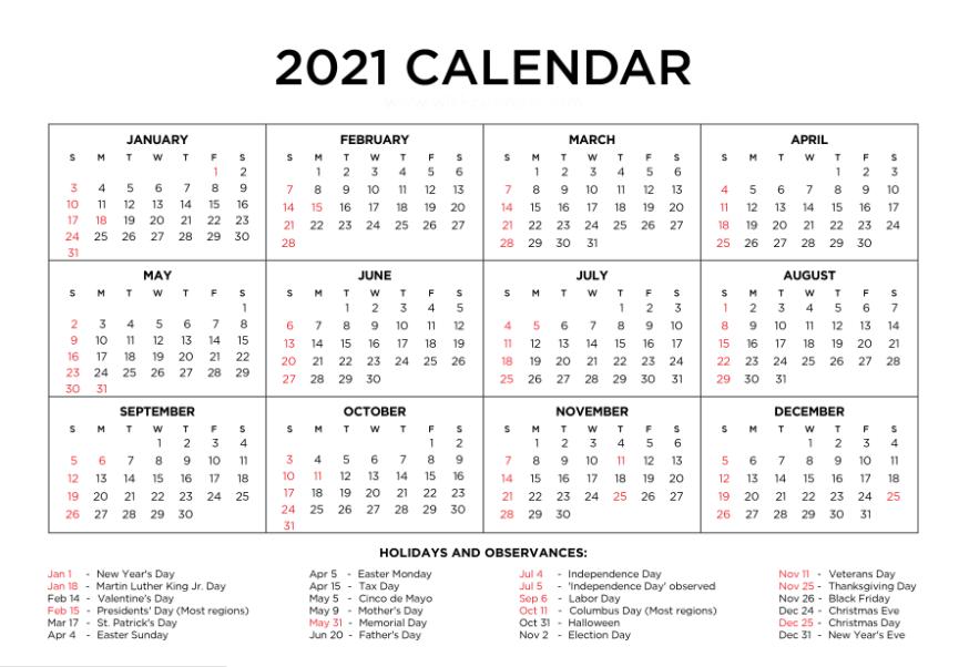 Yearly 2021 Calendar