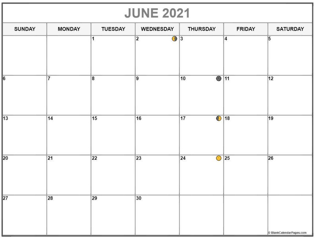 June 2021 Lunar Calendar Dates